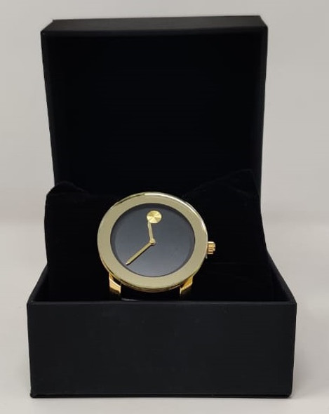 Watch Fashion Generic Women Gold With Black Leather Smooth Strap