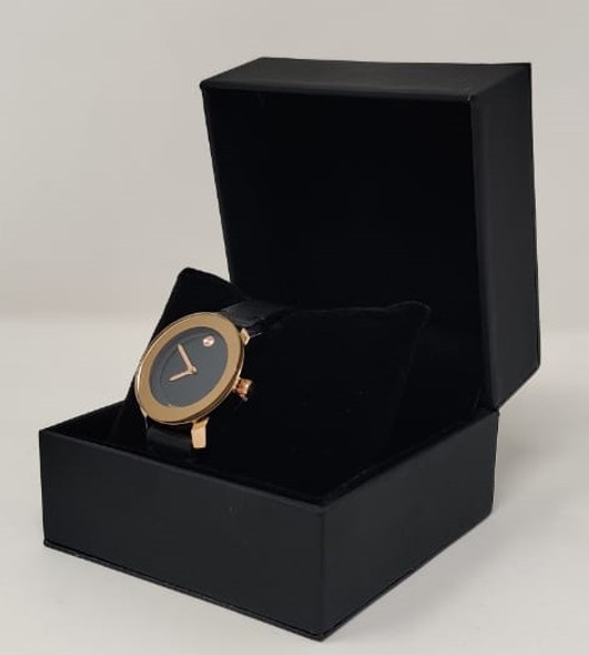 Watch Fashion Generic Women Rose Gold With Black Leather Smooth Strap