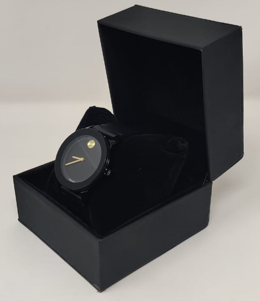 Watch Fashion Generic Men Black With Black Leather Smooth Strap