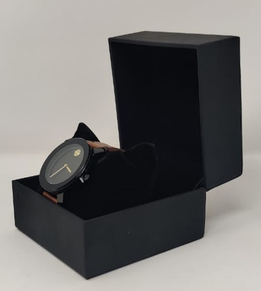 Watch Fashion Generic Men Black With Brown Leather Smooth Strap