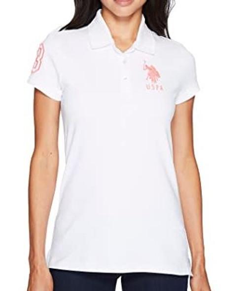 Women Shirt Polo US Polo White pink logo