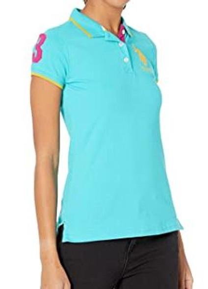 Women Shirt Polo US Polo Turquoise, yellow logo