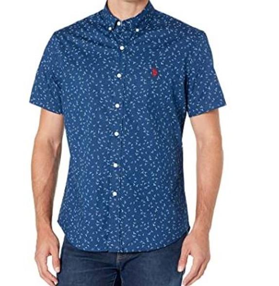 Men Shirt Short Sleeve Button Down Us Polo Navy print