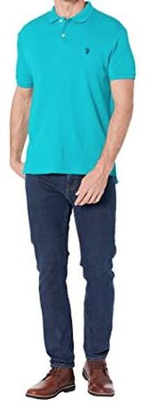 Men Shirt Polo US Polo Turquoise, slim fit, navy logo