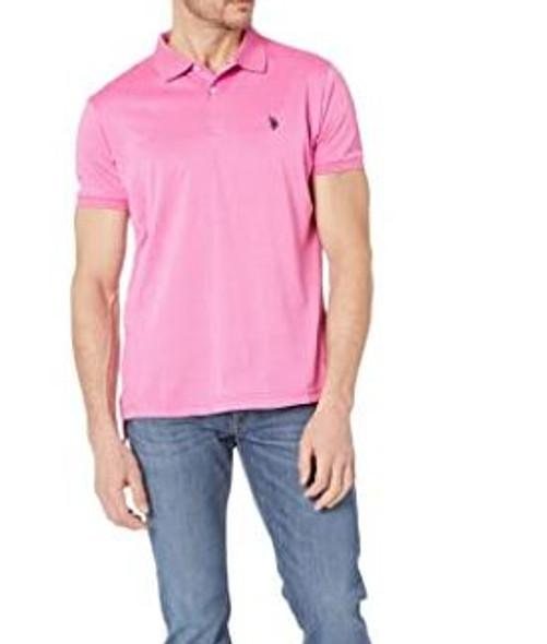Men Shirt Polo US Polo Pink , small logo