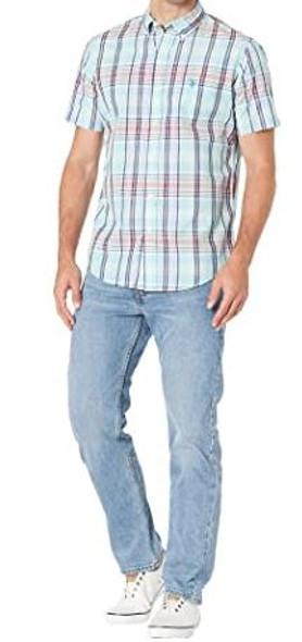 Men Shirt Short Sleeve Button Down US Polo Sea mist Plaid