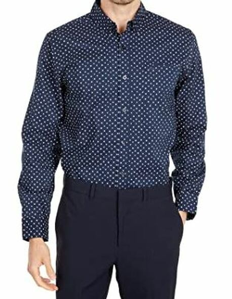 Men Shirt Long Sleeve Button Down Dockers Navy print