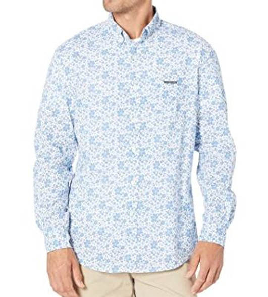 Men Shirt Long Sleeve Button Down US Polo White/blue floral print