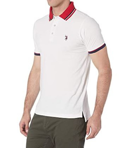 Men Shirt Polo US Polo White, Red collar slim fit