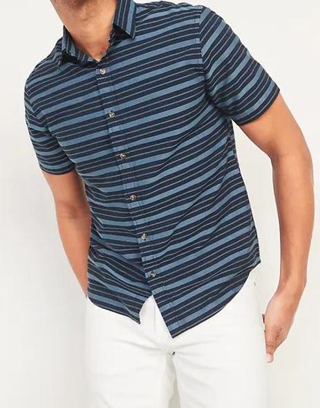 Men Shirt Short Sleeve Button Down Old Navy Navy stipe