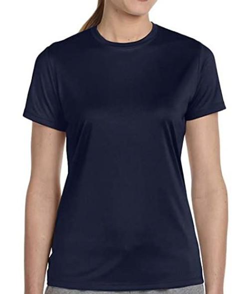 Women Tshirt Hanes round neck Cool DRI Navy