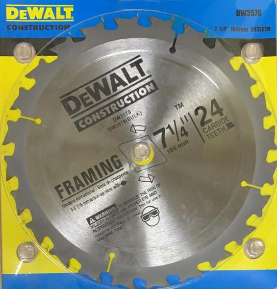 "BLADE CIRCLE 7 1/4"" DEWALT 24T P/CASE DW3578"