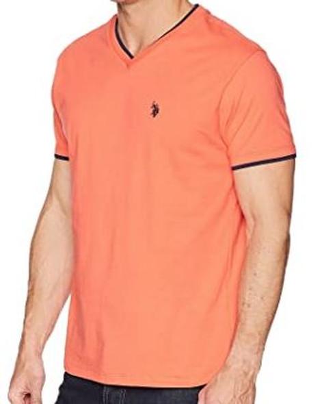 Men T-shirt US Polo Vneck orange