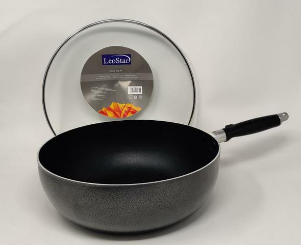 WOK PAN LEOSTAR WM30 WITH GLASS LID 30CM