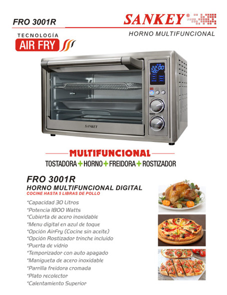TOASTER OVEN SANKEY FRO-3001R WITH AIR FRYER ROTISSERIE 30L