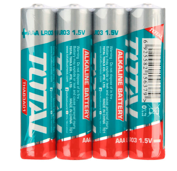BATTERY TOTAL AAA ALKALINE THAB3A01 4PCS PACK