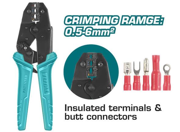 CRIMPING TOOL TOTAL THCPJ0506 RACHET PLIER 225mm