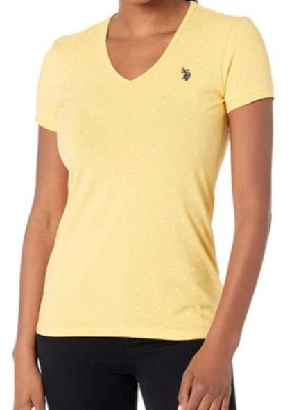 Women T-shirt V-neck Marigold dots