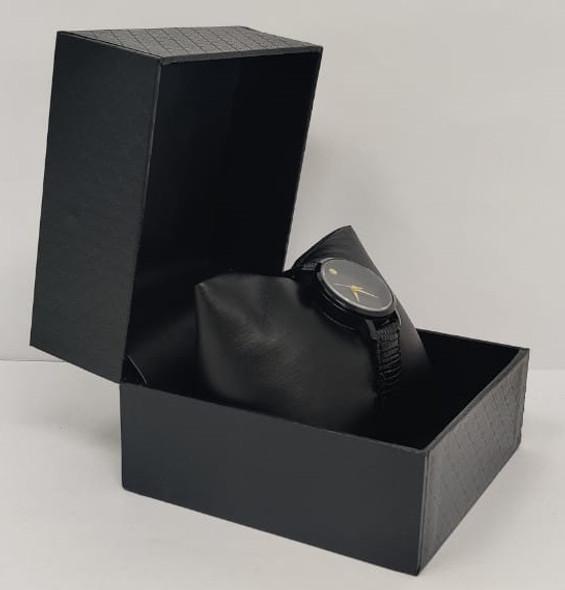 Watch Fashion Generic Women Black With Black Leather Ripple Strap