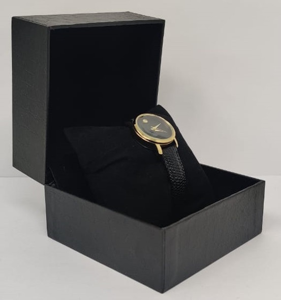 Watch Fashion Generic Women Gold With Black Leather Ripple Strap
