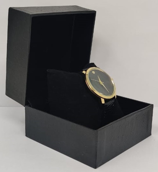 Watch Fashion Generic Men Gold With Black Leather Ripple Strap