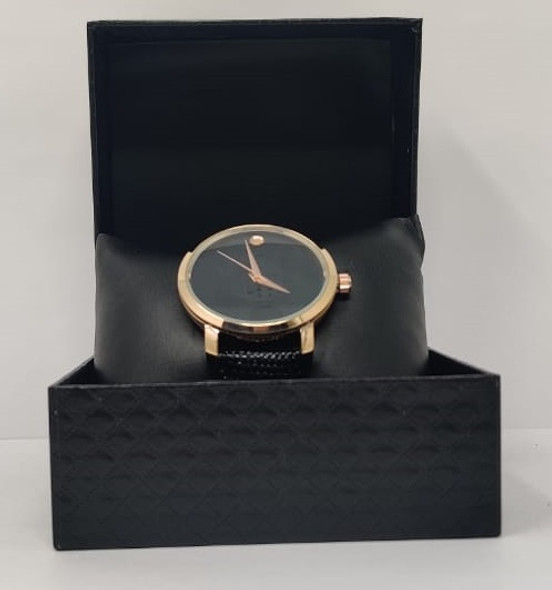 Watch Fashion Generic Men Rose Gold With Black Leather Ripple Strap