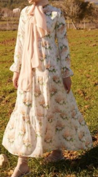 Dress Lined Floral White w/peach flowers