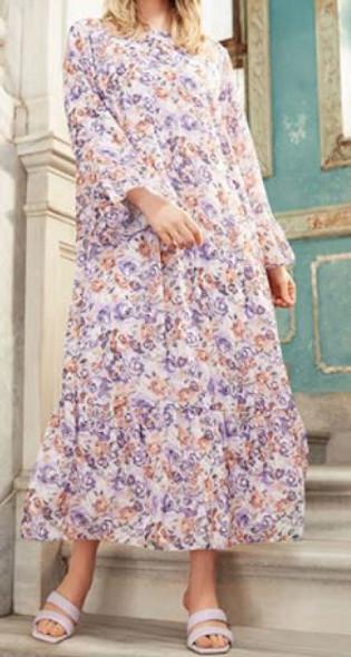 Dress Lined Floral Plus Size Lilac