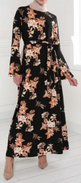Dress Floral Black & camel Stretch