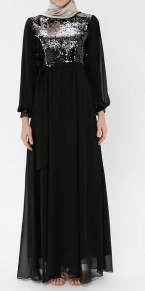 Dress Evening Lined Chiffon & sequin Black