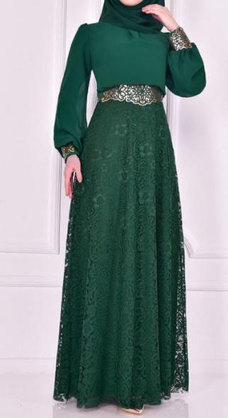 Dress Evening Emerald chiffon & lace