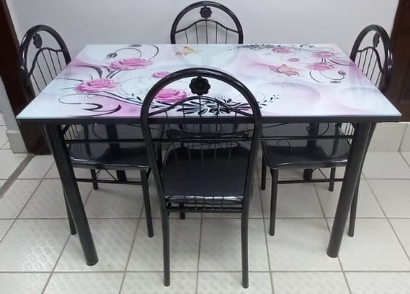 GLASS DINING TABLE A31-M49-4 WITH 4 CHAIR SET PINK & BLACK FLOWERS