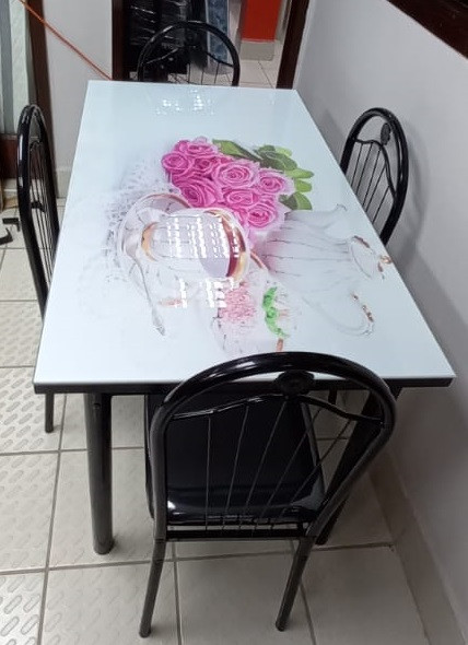 GLASS DINING TABLE A31-M88-5 WITH 4 CHAIR SET PINK & GREEN FLOWERS