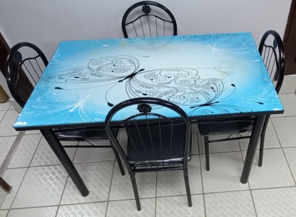 GLASS DINING TABLE A31-M202-3 WITH 4 CHAIR SET BLUE & BLACK BUTTERFLY