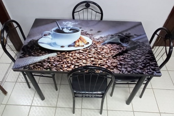 GLASS DINING TABLE A31-M94-1 WITH 4 CHAIR SET COFFEE CUP AND BEANS