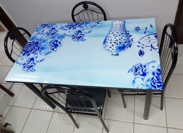 GLASS DINING TABLE A31-M24-2 WITH 4 CHAIR SET BLUE FLOWERS