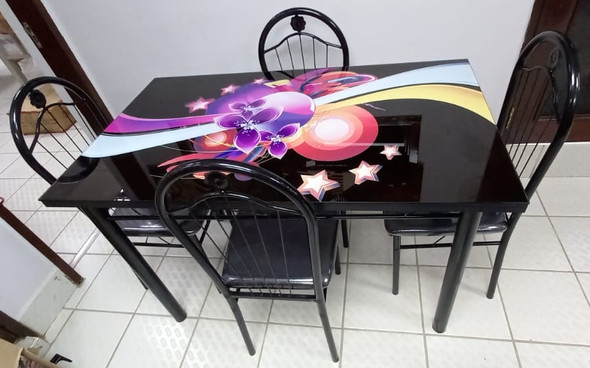 GLASS DINING TABLE A31-M98-6 WITH 4 CHAIR SET PURPLE FLOWERS & STARS
