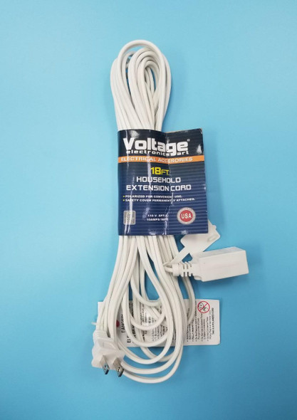 EXTENSION CORD 18FT VOLTAGE WHITE 18FT/IN