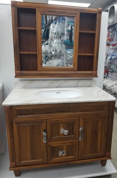 BATHROOM CABINET #6102-100 BROWN WITH SINK AND MIRROR 102X56X55CM