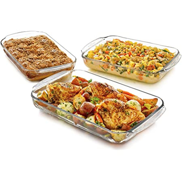 CAKE PAN GLASS LIBBEY BAKER'S BASIC 3PCS