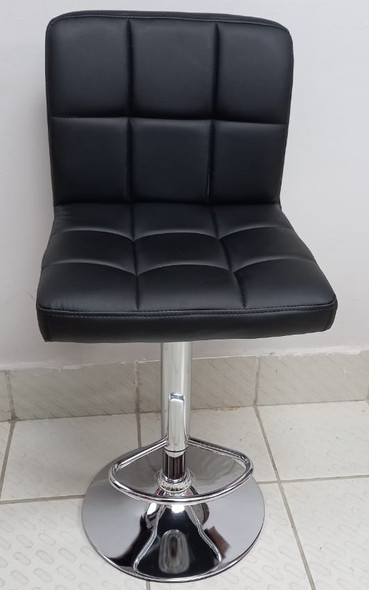 BAR STOOL 311004 WITH BACK REST BLACK LEATHER
