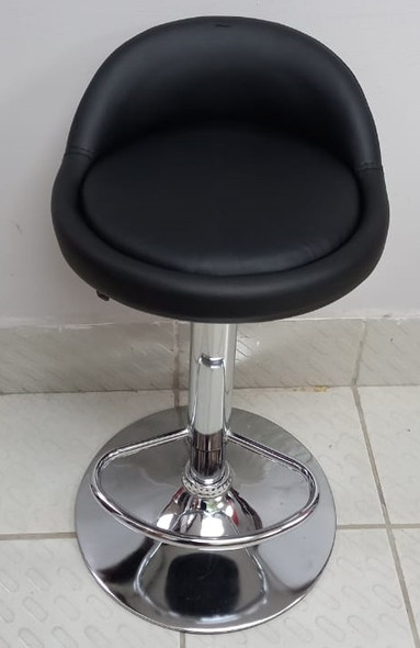 BAR STOOL 311005 WITH BACK REST BLACK LEATHER