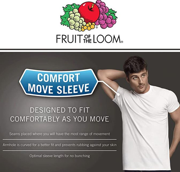 Men T-Shirt Fruit of the Loom 6pack White Tagfree