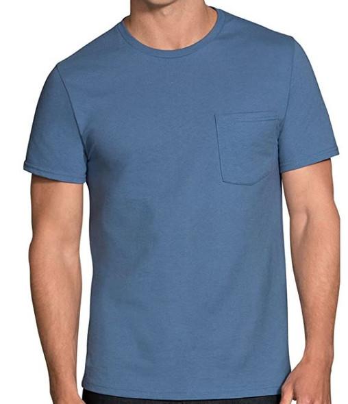 Men T-Shirt Fruit of the Loom 6pack Short Sleeve Pocket Tagfree