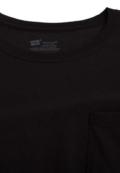 Men T-Shirt Hanes Black 4pack Pocket Tagless