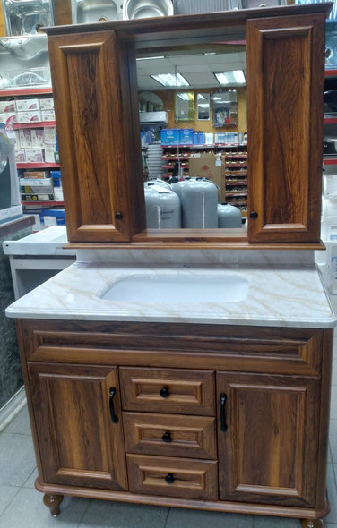 BATHROOM CABINET #6105-100 BROWN WITH SINK AND MIRROR 102X56X55CM