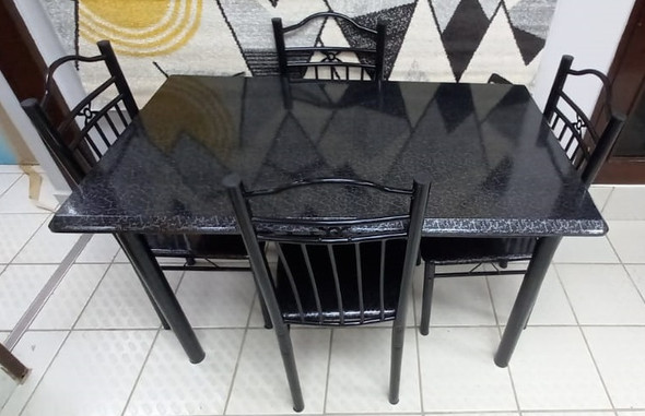 WOOD DINING TABLE P23-04-8 WITH 4 CHAIR SET BLACK