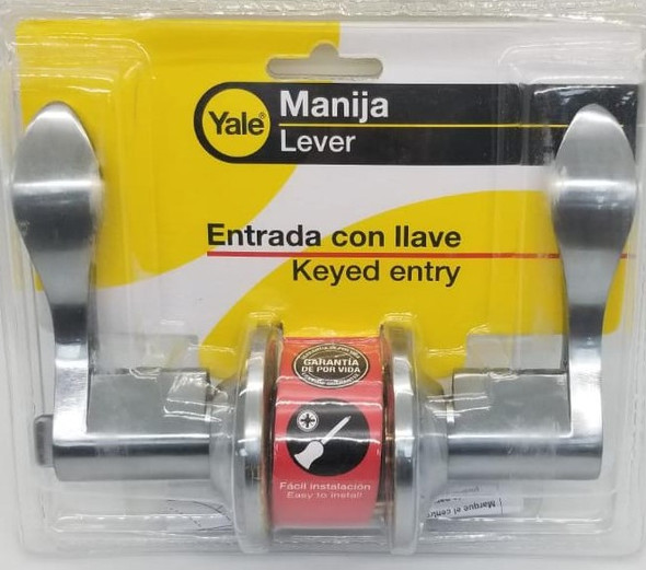 LOCK LEVER YALE ENTRY STAINLESS STEEL ASTON 1607 US26D