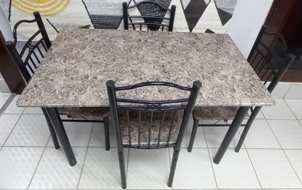 WOOD DINING TABLE 119-50-9 WITH 4 CHAIR SET LIGHT BROWN STONE LOOK