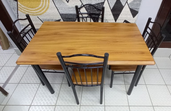WOOD DINING TABLE F22C-7 A-088 WITH 4 CHAIR SET LIGHT BROWN WOOD LOOK